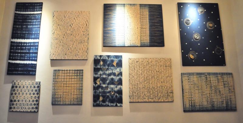 shibori indigo wall art