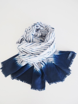 100% Linen scarf dyed with indigo
