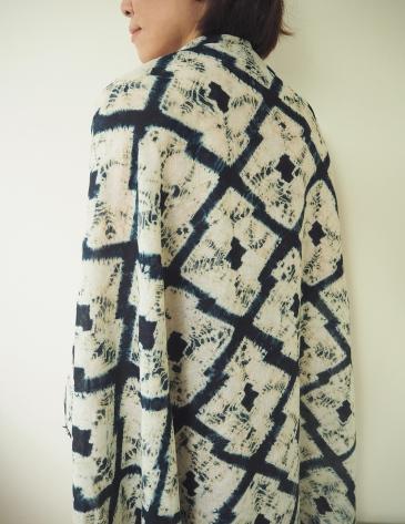 100% linen scarf dyed with indigo and myrobalan